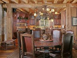 bric wall rustic dining room designs with iron vintage chandelier