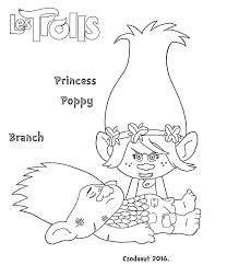 Coloriage Du Film Trolls Princesse Poppy Au Chevet De Branch
