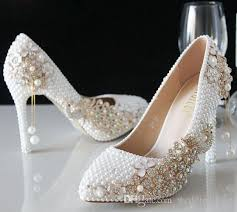 Luxury Pearls Ivory Wedding Shoes For Bride Crystals Prom High Heels