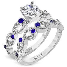 Simon G Vintage Style Scrollwork Filigree Sapphire Engagement Ring