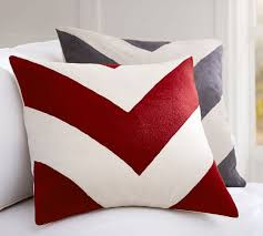 chevron crewel embroidered pillow cover pottery barn