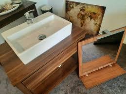 waschtisch inkl waschbecken und spiegel in nussbaum nachbildung