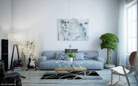 grey and light blue living room
