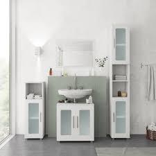 vicco badmöbel set badmöbel set rayk badezimmer spiegel kommode unterschrank verglast weiß kaufen otto