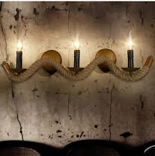age vintage rope wall light sconce 3 candle holders