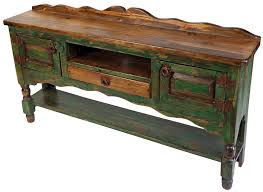 Rustic Green Painted Wood Turned Leg Buffet Table With 2 Doors 1 Drawer And Shelf