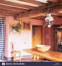 100 Rustic Ceiling Beams Victorian Glass Lamp Above Pine Table In Pink Cottage Dining Room