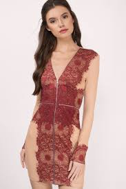 wine and dress lace dress red zipper dress bodycon