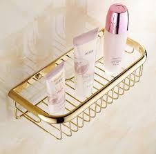 Fashion Gold Finish Bathroom Accessories Shower ShampooCosmetics Shelf Basket Holder Brass Material Wrought Iron Wall Shelves In From Home