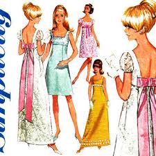 1960s Dress Pattern Bust 31 Simplicity 7117 Evening Cocktail Party Wedding Bridal Prom High Empire Waist