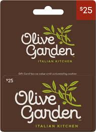 Olive Garden Italian Kitchen Universal $25 Gift Card Brown OLIVE