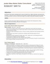 Junior New Home Sales Consultant Resume Model