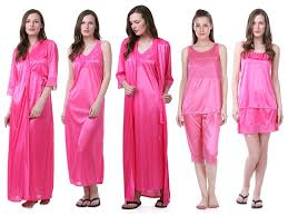 Claura Womens Satin Pack Of 6pc Night Dress Pink Amazonin Clothing Accessories