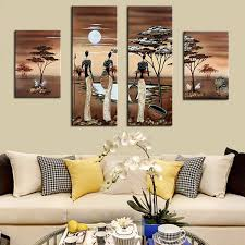 4 stücke abstrakte afrikanische landschaft ölgemälde handgemalte afrikanische frauen wandbilder für wohnzimmer leinwand kunst dekoration