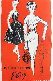 1950s STUNNING Estevez Cocktail Party Dress Pattern Prominent Designer M221 Figure Moulding Sheath Or Full Skirt Gorgeous Styles Bust 31 Vintage