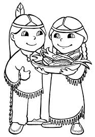 Native American Couple Celebrating Thanksgiving Day