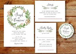 Wreath Wedding Invitation Printable Rustic Invite Boho Kit