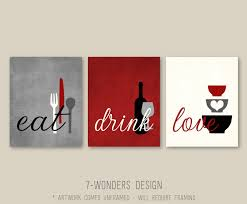 Wine Kitchen Decor Sets by Kitchen Wall Art Print Set Eat Drink Love Rustic Red