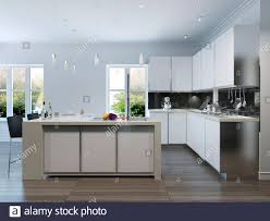 Modern White Kitchen Interior 3d Rendering Stockfoto Und Modern Design Kitchen Interior 3d Render Stock Photo Alamy