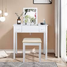 schminktisch mit aufklappbarem spiegel für schlafzimmer weiß