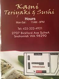 Kami Sushi Teriyaki Home Snohomish Washington Menu Prices