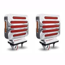 100 Semi Truck Led Lights Flatline Double Face Square LED AmberRed PAIR SEMITRUCK