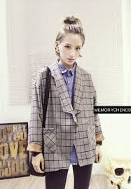 Autumn Spring Vintage Casual Wear Women Suit Plaid Check Street Style Blazer Loose Design Single Button Ladies Xz22 In Blazers From Womens