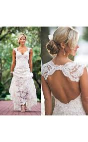 Country Cap Sleeved V Neck Long Lace Dress With Keyhole Back