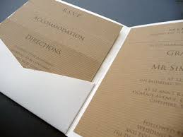 Matt Ivory Pocketcard Wedding Invitation With Rustic Kraft Inserts