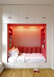 Cool Girls Small Master Bedroom Ideas With Built In Wardrobe Added White Mattress And Pink Bookcase Around Also Chic Cushions