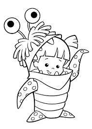 Boo Costume Monster Inc Coloring Pages For Kids Printable Free Within Monsters
