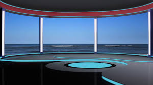 News TV Studio Set 189 Virtual Green Screen Background Loop Stock Video Footage