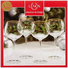 Spode Christmas Tree Glasses by Amazon Com Lenox Holiday Balloon Glasses Set Of 4 Kitchen U0026 Dining