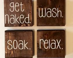 Bathroom Decor Wooden Sign Rustic
