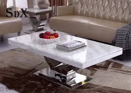 100 Living Room Table Modern Hot Item Simple Design Marble Top Polished Stainless Steel Coffee