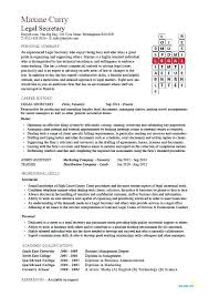 Legal Secretary Resume Samples S Best