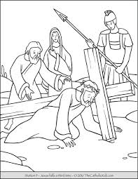 Stations Of The Cross Coloring Pages Jesus Falls A Third Time Picture Medium Size