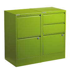 Bisley Green 2 & 3 Drawer Locking Filing Cabinets