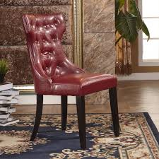 Modern Faux Leather Parson Dining Chair (Set Of 2) (Red)   Products ... Ding Chair Velvet Modern Room Fniture Tufted Parson Set Chairs Red Leather Luxury Picture 3 Of 26 Eugene Parsons Faux Cappuccino Wood Add Contemporary Sophiscation To Your With Shop Classic Upholstered Of 2 By Inspire Q 89 Off Pottery Barn 5 Pc 4 Person Table And Red Dinette Black And Cool Crimson Eco W Glamorous Mid Century Pair Oxblood Club For