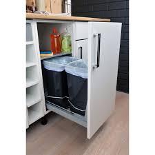 plateau coulissant pour cuisine rangement coulissant 2 poubelles pour meuble l 40 cm delinia