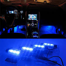 Universal Blue Car Atmosphere Lights Decorative Lamps 12V 4x3 LED Glow Auto Interior Light Source Styling Accessories Decor In Signal Lamp From