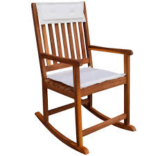 Details About Acacia Wood Patio Rocking Chair Backrest Armchair Garden Seat  Rocker Cushion New
