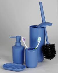 bad set wc set aus seifenspender seifenschale zahputzbecher und wc bürste blau kunststoff