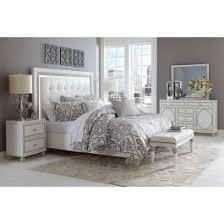 AICO Hollywood Loft 4 Piece Upholstered Platform Bedroom Set in