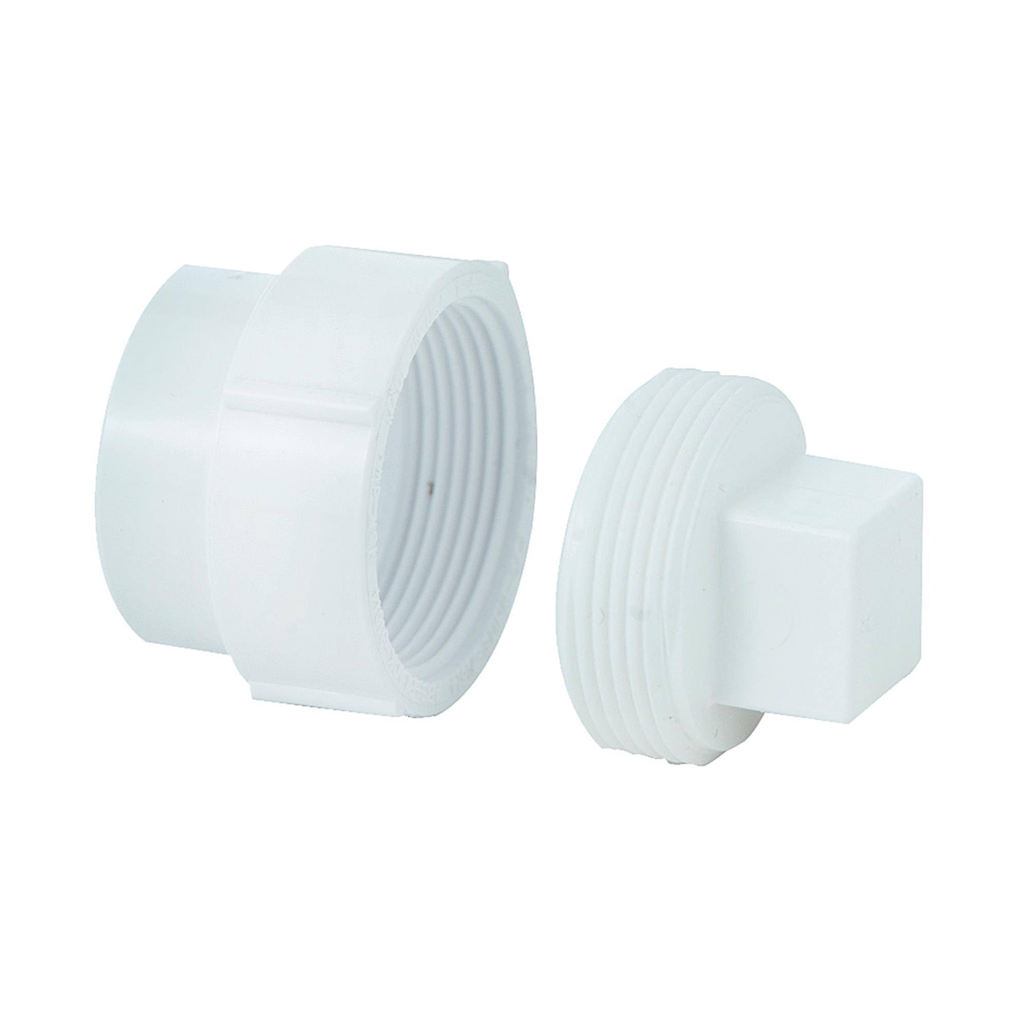 "Genova Products Cleanout Body - with Plug, White, 1-1/2"", 3 Pack"