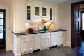 Custom White Wet Bar Cabinets With Under Shelves Lighting And Floating Plus Tile Flooring For Kitchen Design Ideas