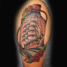 Sailor Jerry Ship In A Bottle Upper Arm Guys Tattoos