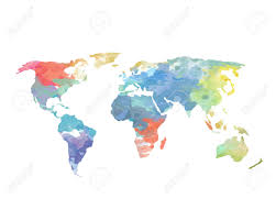 Watercolor World Map Poster Continents Ocean Stock Photo Picture And Of The
