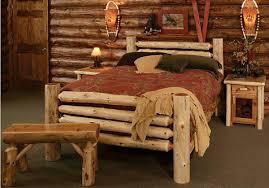 Wondrous Homemade Log Furniture Plans Using Natural Wooden Bed