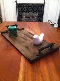 Small Reclaimed Dark Stained Pallet Wood Edge Grain Flat Serving Tray With Metal Handles